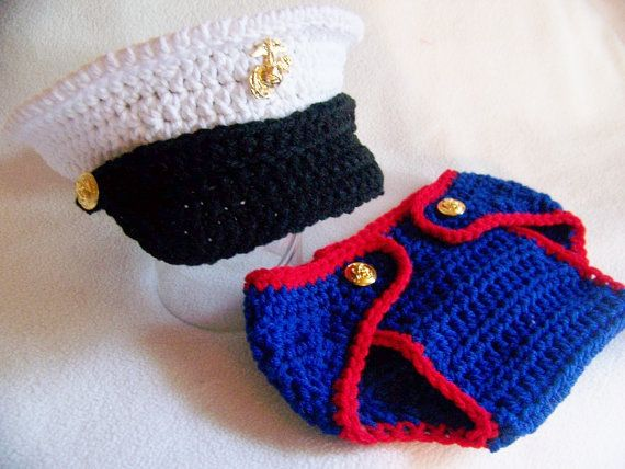 USMC Marine baby hat and diaper cover with or without pocket and emblem on pocket you pick the size Hobbyist License 11324