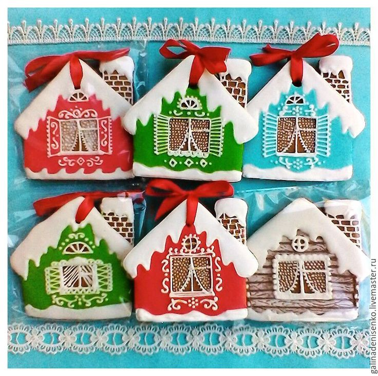 Купить Новогодние Пряники на елку Домики в интернет магазине на Ярмарке Мастеров