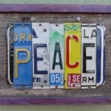 what a cool idea for old license plates!  i want to make name plates for my kids and cool signs for pretty much every room in the house.