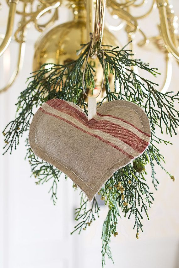 Christmas Red Mangle Cloth Vintage Heart by SuttonPlaceDesigns