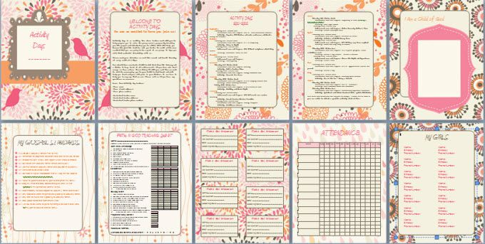 Activity Day Binder - I wouldn't print all of it but the tracking sheets look pretty good.