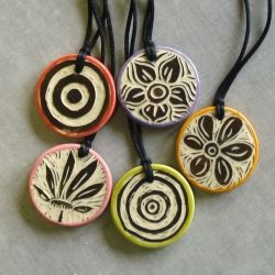 clay pendants: Awesome Diy, Handcarved Pendants, Clay Ideas, Carvings Tools, Clay Pendants, Ceramics Pendants, Polymer Clay, Porcelain Clay, Clay Lessons Ideas