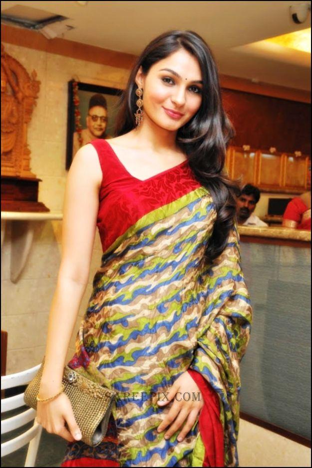 Andrea Jeremiah in multi color saree