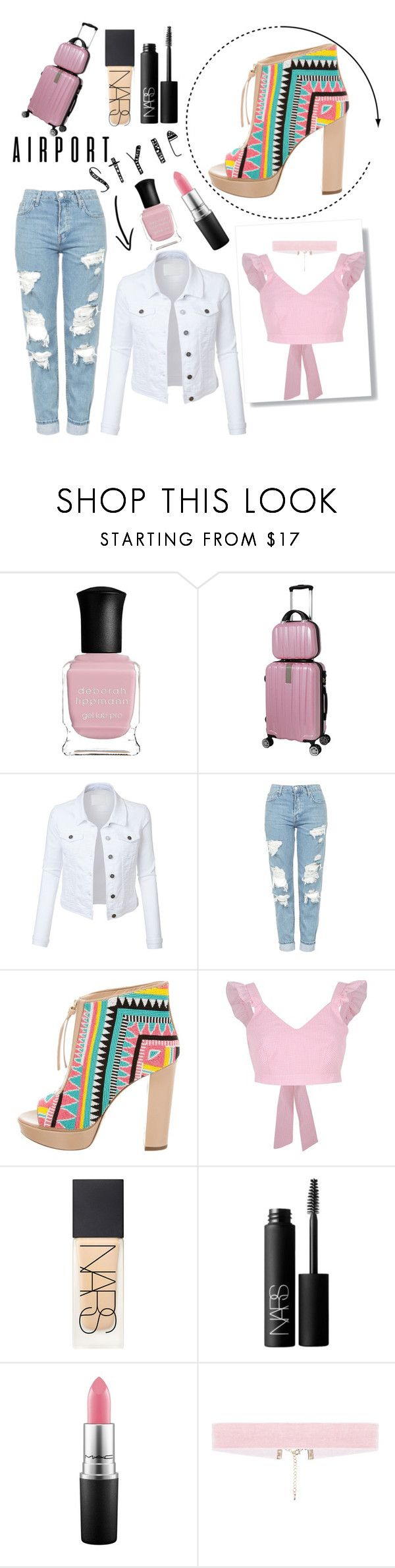 """""""Airport Style"""" by paige2206 ❤ liked on Polyvore featuring Deborah Lippmann, LE3NO, Topshop, Jerome C. Rousseau, River Island and NARS Cosmetics"""
