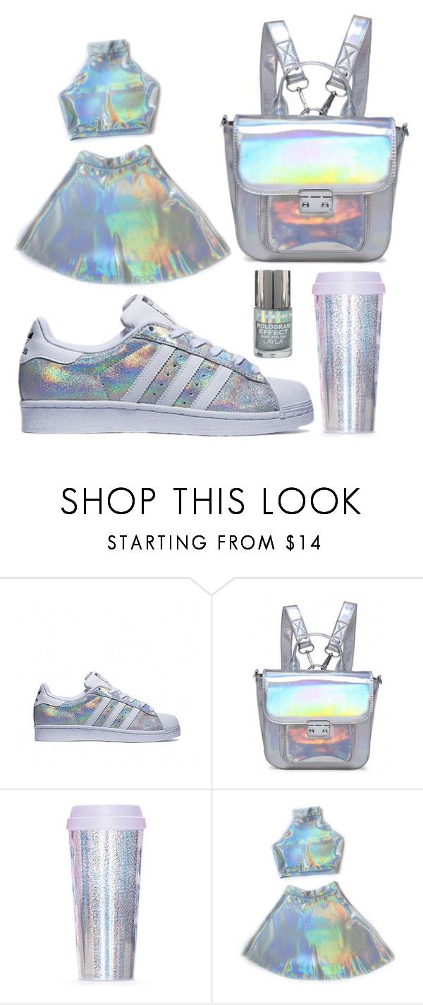 """The holographic outfit"" by gabriella-hollis ❤ liked on Polyvore featuring ban.do, white, Blue, adidas and holographic"