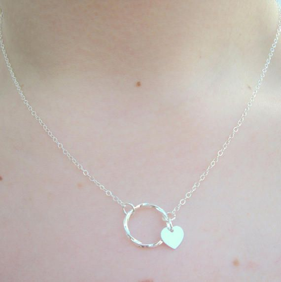 Sterling Silver Circle Necklace Eternity Necklace Friendship