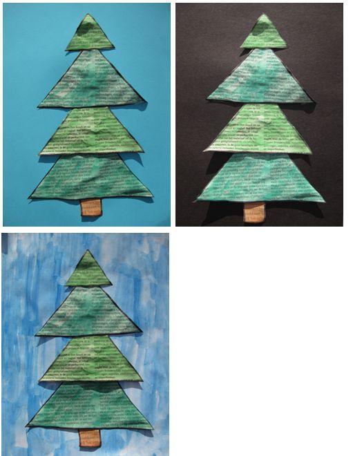Kerstboom kleuters, krantenpapier met ecoline