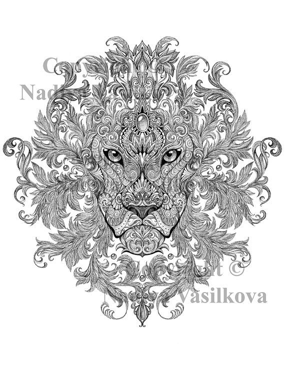 Lion Adult Colouring Page In Sheets