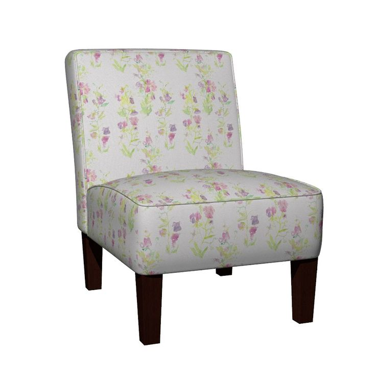 Maran Slipper Chair featuring Sweet_Peas__basic_repeat by wildflowerfabrics | Roostery Home Decor