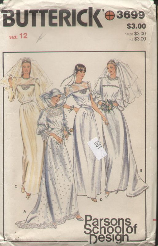 Awesome Butterick Vintage s Parsons School of Design Wedding Dress Pattern B