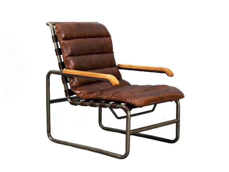 Designsessel New Brunswick Aus Vintage Leder Und Stahlrohr Sessel Vintage Sessel Leder