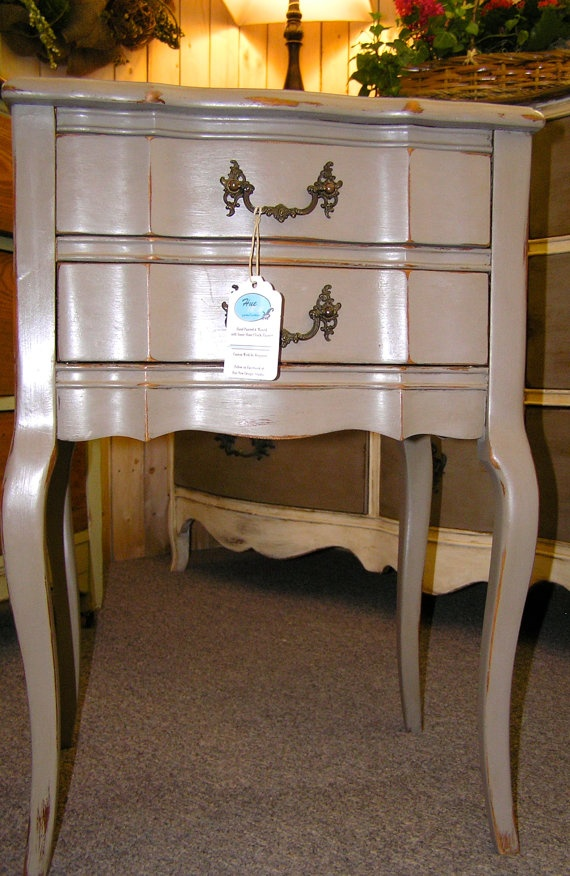french distressed furniture. french country solid cherry side table hand painted using annie sloan chalk paint in distressed furniture