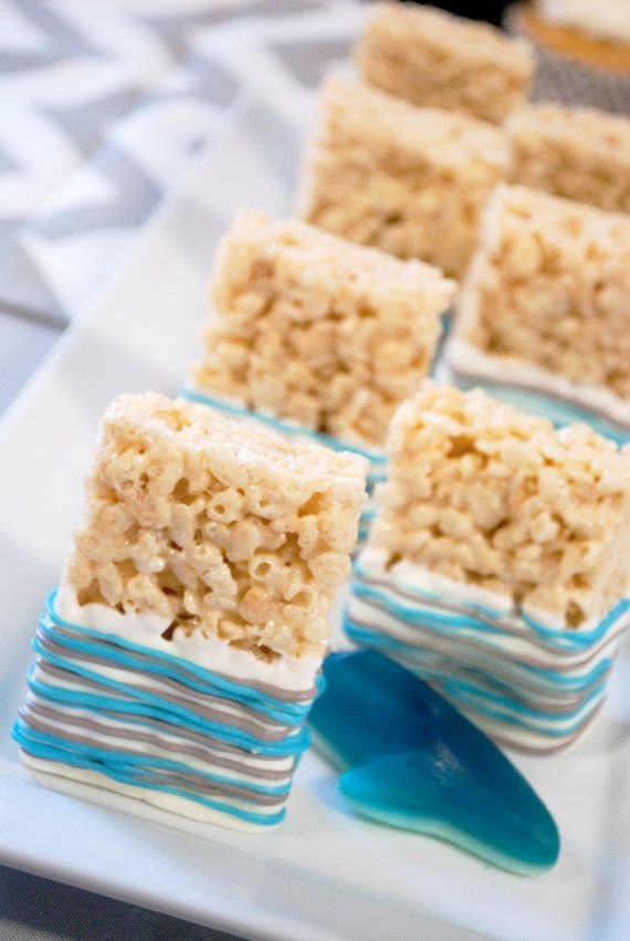 12 Caribbean Blue and Grey Rice Crispy Treats Sweets Table Candy Buffet Party Favors Birthday Wedding Baby Bridal Shower