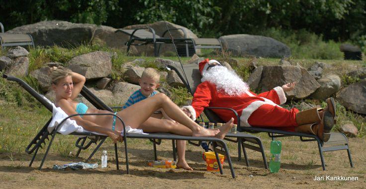Santa Claus was haveing a summer holiday at Holiday Resort Järvisydän :)