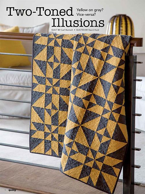 Two-Toned Illusions uses yellow and gray to make it into the Two Color Quilts category. These colors play well together while competing for the spotlight.