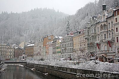 The embankment of the Tepla River in Karlovy Vary, Czech Republic, in winter.