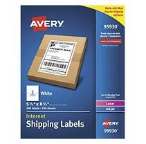 """Avery Shipping Labels, Laser, 5.5"""" x 8.5"""", White, 500ct."""