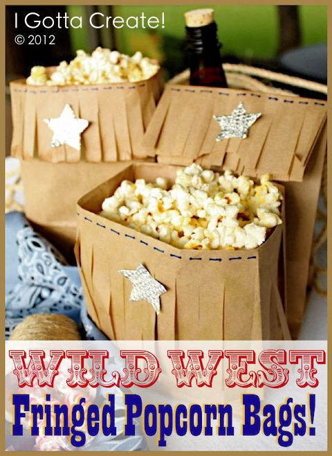 I Gotta Create!: Western Fringe Popcorn Bag Tutorial...perfect for a cowboy/cowgirl party theme!