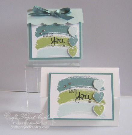 hanmade card and gift bag .. Work of Art, Stampin' Up!, Craft Project Central ... cool tones ... gatebold card with large cover ... Stampin'Up!