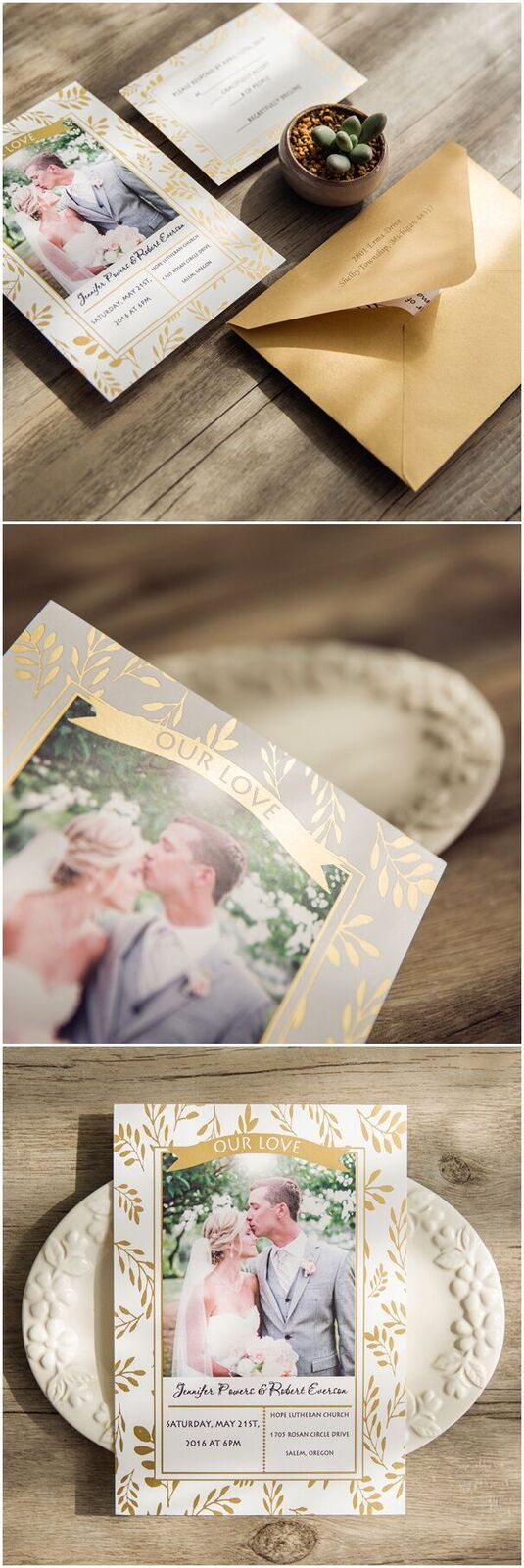 foiled leaves photo themed wedding invitations for