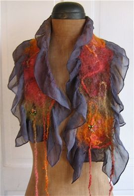 fall scarf with yarn, via Flickr.  Dalis Davidson