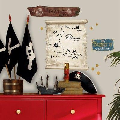 New Large PIRATE MAP DRY ERASE BOARD WALL DECALS Pirates Bedroom Stickers Decor on eBay!