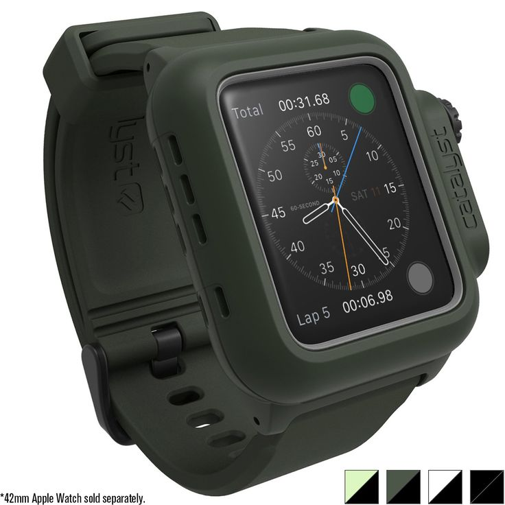Catalyst Case for Apple Watch 42mm Series 2 - Waterproof Shock Resistant (Army Green). SUPERIOR WATERPROOF TECHNOLOGY: The Catalyst Case for the Apple Watch 42mm Series 2 double the IP68 waterproof score of Apple Watch. Dive as deep as 330 feet (100 meters), Take your Apple Watch with you swimming, running, hiking, climbing, skiing, fishing, camping or diving. PEACE OF MIND WITH MILITARY GRADE SHOCK RESISTANCE PROTECTION: Apple Watch 42mm Series 2 case exceeds MIL-STD 810G military…