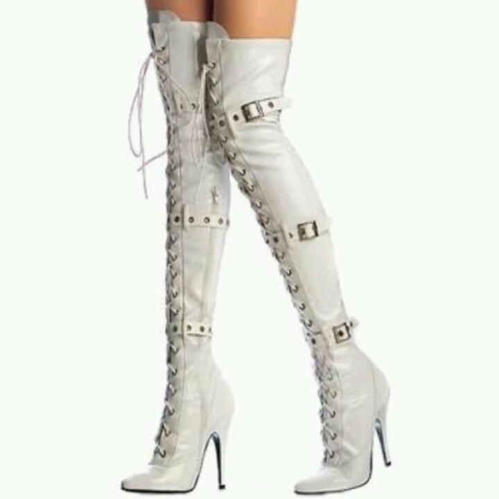 Thigh High White Leather Boots