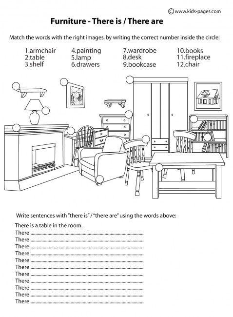 Muebles - Hay / Hay hojas de trabajo B & W