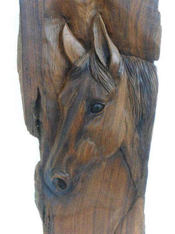 Horse head wood carving natural teak hand carved