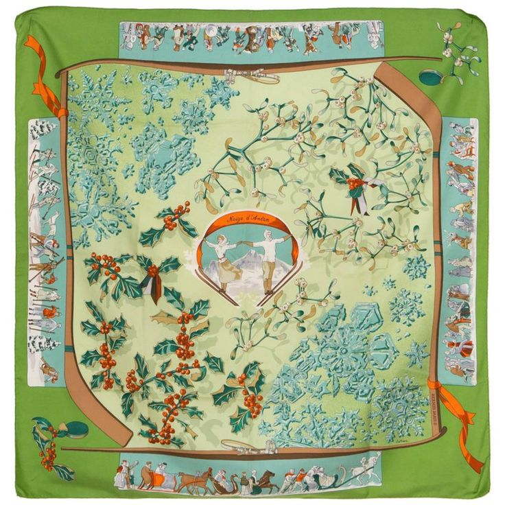 Green Hermes Silk Scarf Les Neiges D Antan by Latham   1stdibs.com