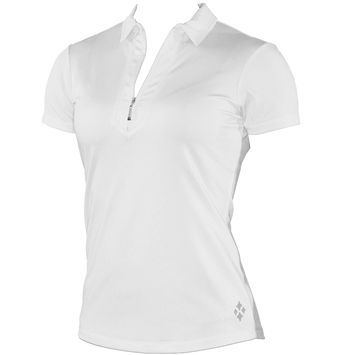 """Please draw a self collar/collar stand, framed zip placket polo like image to the left.  Draw short sleeve and slvls body.  The slvls armhole treatment would be 3/4"""" wide. The inside collar stand would be contrast color."""