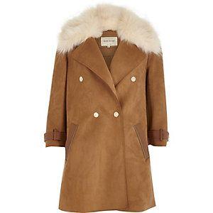 Brown faux fur collar coat