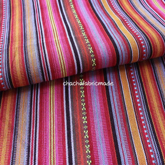 Tribal Fabric Ethnic Fabric Aztec Fabric Native Fabric BOHO Bohemian Style peruvian fabric Color Stripe Fabric Pink-Half Yard
