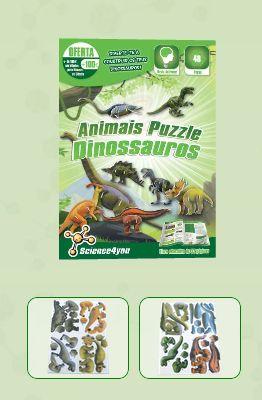 ANIMAIS PUZZLE - DINOSSAUROS  Descobre: - Como podes classificar os dinossauros  - Quando e onde viveram  - As teorias que existem sobre a extinção dos dinossauros  - O que são fósseis e qual a sua importância - Características e curiosidades sobre dinossauros como o Velociraptor, Brachiosaurus, Parasaurolophus, entre outros