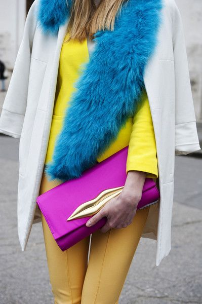 Paris Fashion Week Fall 2013. Brights! Details in street style