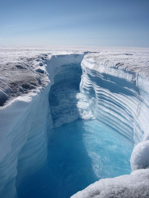 Russell Glacier, Greenland  Supraglacial channel by Henry Patton, via Flickr