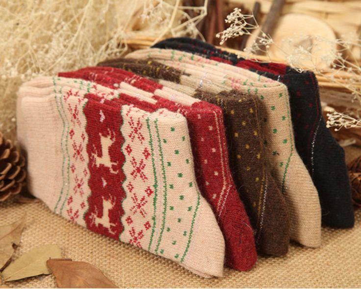 Ultra Comfortable Christmas Snow flake Deer Design Womens Wool Socks Warm Winter #UnbrandedGeneric #ToeSocks