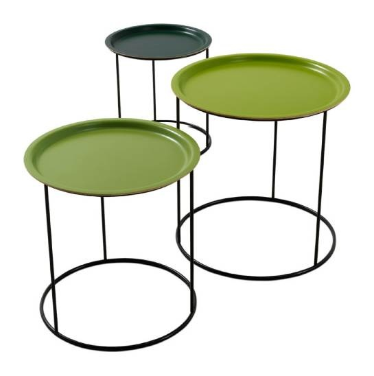 """Stacking/nesting snack tables in three tones of green lacquer.  Funner than all white or black or one color.  """"Occa"""" by BoConcept, Denmark."""