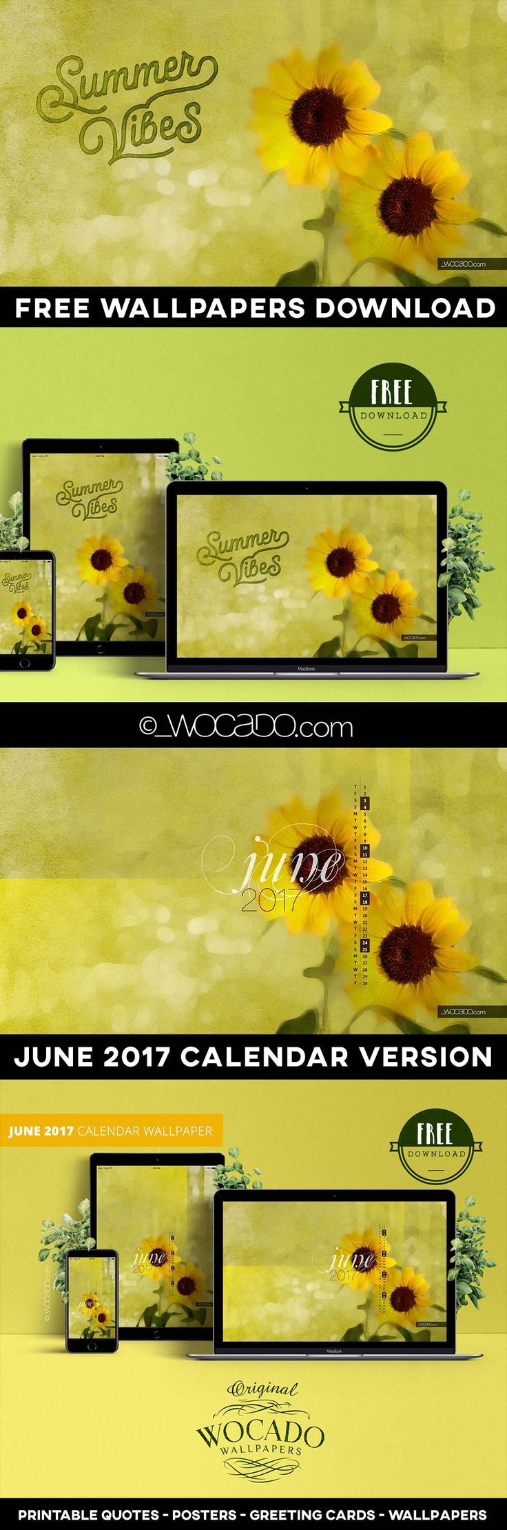 Free Download by WOCADO Available in various resolutions. Get This Beautiful 2017 June Calendar WallPaper for your Device. Get it now There is also an All-Year Wallpaper Version without Calendar with beautiful 'Summer Vibes' lettering. Get it now Do You Like These Wallpapers? Let Me Know Your Thoughts in the Comments Below! Do You Have a Story to…