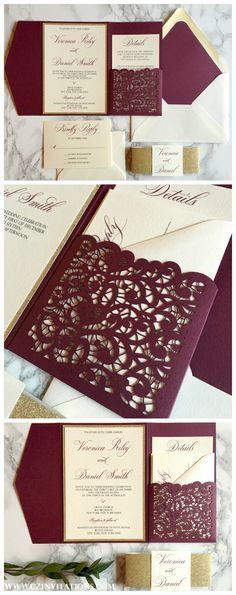 Burgundy, Merlot, gold invitations.