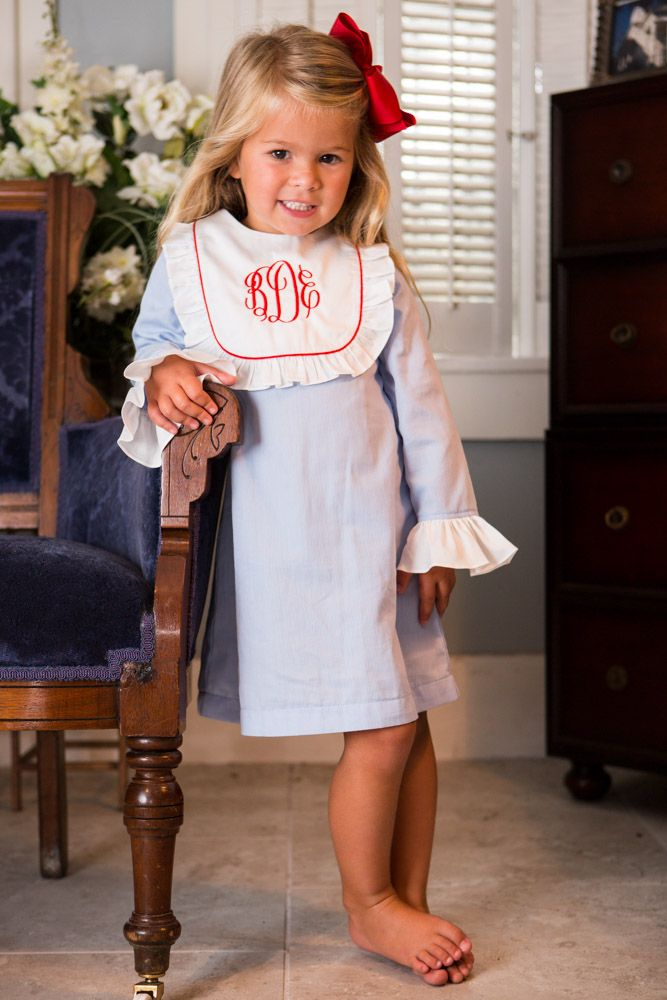 Monogram Bib Dress from Crescent Moon Children.  Monogrammed Clothing for Children!