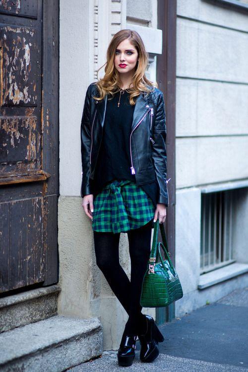 / Street Style / plaid / leather