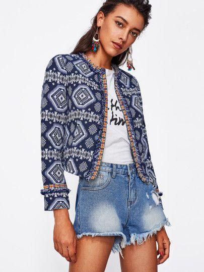 Tribal Print Frayed Lace Trim Open Front Blazer