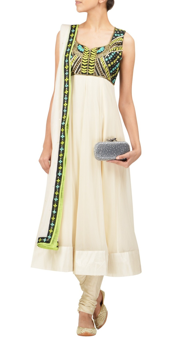 Arpita Mehta - simple anarkali with a touch of neon Aztec. I want this!