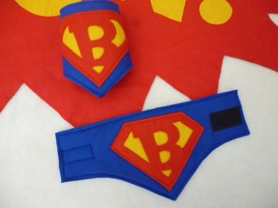 Super cuffs with initial for dressing up superhero by MummyHughesy