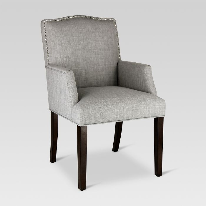 Camelot Nailhead Dining Captain Chair - Dove Gray ...