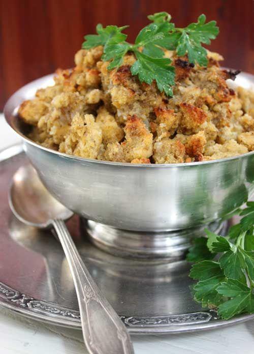 Gluten-Free Cornbread DressingRecipe - Lexie's Kitchen   Gluten-Free Dairy-Free Egg-Free - Lexie's Kitchen.  #thanksgiving