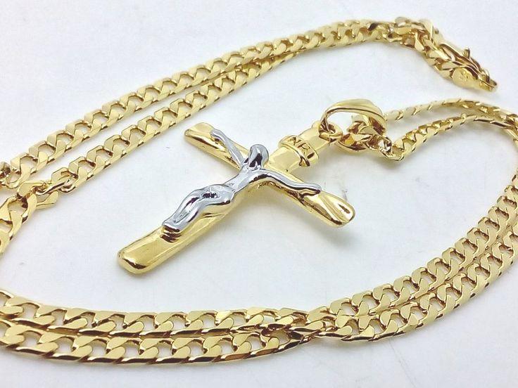 Collana Ciondolo Croce Oro Unisex Uomo Donna Crocifisso con cristo Argento