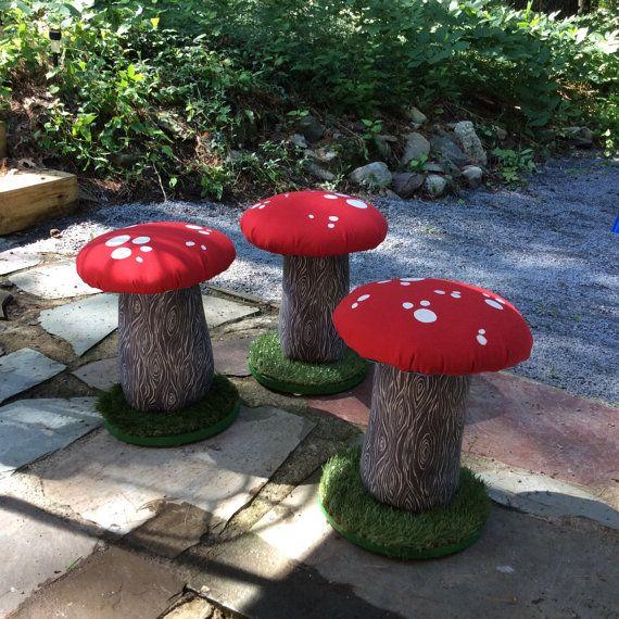 Mushroom Stool Toadstool Seat Kids Decor Handcrafted